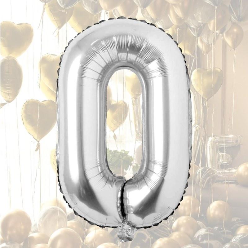 Nafukovací balónky čísla maxi stříbrné - 0